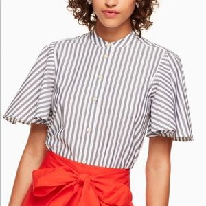 Kate Spade Stripe Flutter Sleeve Button Down Too